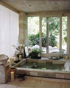 The spa like bathroom design ideas we found has got some different features you can include, all you need is to select your favorites, pin them and save them for when you are looking to design your new bathroom. There are plenty to pick from, from ceiling showers to nice, isolated, bathtubs, you can give your new bathroom the feeling of fanciness and an entirely put-together look. After deciding which fixtures you want to feature, all you need is completing the look with nice towels... Spa Bathroom Design, Spa Bathroom Decor, Asian Bathroom, Japanese Bathroom, Zen Bathroom, Rustic Bathroom Designs, Bathroom Layout, Bathroom Ideas, Mermaid Bathroom