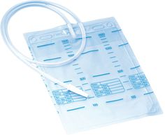 Urine and secretion bag 2 l, anti-reflux valve, individually packed, sterile