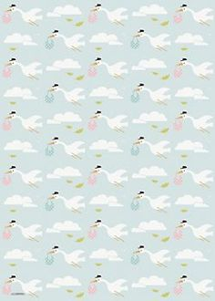 Stork Baby Shower Wrapping Paper