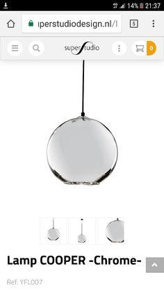 Glazen bol www.superstudiodesign.nl/lamp-copper-pendant-cooper-chrome-dixon