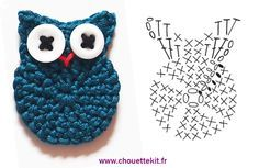 Crochet Small Owl - Chart. Bow Dazzling Volunteers, add an alligator clip with a felt circle for a cute hair or headband accessory.