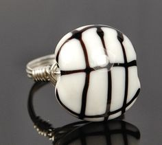 Black and White Geometric Lampwork Glass Bead- Silver Wire Wrap Ring