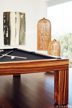 Pool Table and Roche Bobois Birdcage Lights