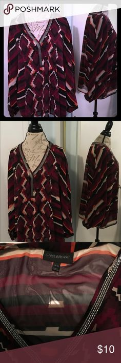 Multi Color Blouse Beautiful and Very Comfortable Blouse, Looks Great with jogging Lane Bryant Tops Blouses