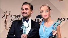 Totally shocked - I just won a SAG Award! Here I am with the sexy @LeoDiCaprio! #SAGAwards2016