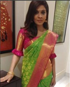 Different Types of Designer Blouse Design for Women - Kurti Blouse The much awaited list is here Ladies. Have a look at the latest blouse designs of 2019 trends for this year. Blouse desig n Striking sari black blouse Read Pattu Saree Blouse Designs, Blouse Designs Silk, Designer Blouse Patterns, Bridal Blouse Designs, Designer Saree Blouses, Latest Blouse Designs, Lehenga Blouse, Blouse Back Neck Designs, Simple Blouse Designs