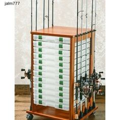 Rolling Fishing Rack 16 Rods Rod Reel Pole Utility Box Storage Rack Holder Fly