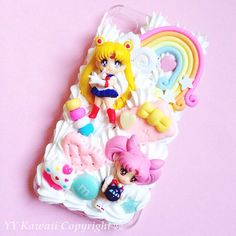 Custom Sailor Moon, neptune, Uranus Chibiusa Decoden Phone Case for Iphone 4/4s, 5/5s/5c, Samsung Galaxy S3, S4 S5 or Ipod Touch, Htc One X