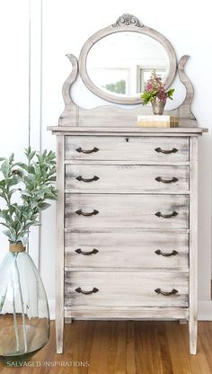 Weathered Wood Dresser Created with Paint