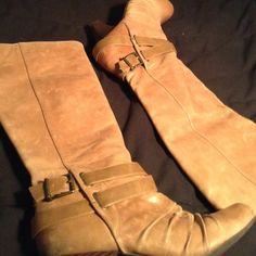 Jessica Simpson Camel Color boots These have been worn frequently but still have a lot of life in them. Camel colored come up to about mid calf.  Please see pictures for condition of boots they do have scuffs on the body of the shoe some black scuffs at the heel and tip of shoe possibly able to remove with shoe cleaner but I'm not sure I will gladly post additional pictures for you if needed but please don't ask if your no serious considering buying ! Jessica Simpson Shoes