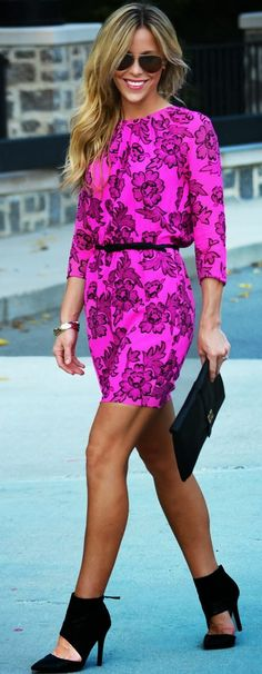 Sleeve floral pink mini dress with belt fashion style