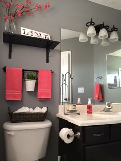 """My bathroom remodel. Love it!!! Kohls towels Kohls shower curtain Home Depot """"Anonymous"""" gray paint Hobby lobby decor IKEA shelves Find More Accessories & Decorative Ideas for Your Bathroom at Centophobe.com #bathroom #Decorating Ideas"""