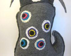 Stuffed eye monster toy sewn felt monster doll by TheTangledWeb