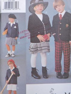 Children's Jacket Skirt Pants and Shorts Boys & Girls Vogue Fashion Designer Sewing Vogue For Me 8920 Uncut Pattern Size 2 to 4 - Baby clothing boy, Baby clothing girl, Gender neutral and baby clothing
