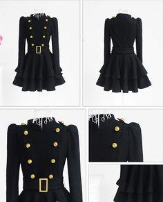 Elegant Double Breasted Standing Collar Woolen Coat