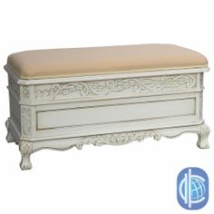 International Caravan Antique White Carved Wood Bench | Overstock.com Shopping - Great Deals on International Caravan Benches