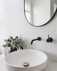 Our Vivid Slimline Up Wall Mixer and Outlet in Matte Black on white penny tiles is a perfect match. Penny Round Tiles, Penny Tile, Bad Inspiration, Bathroom Inspiration, Bathroom Wall, Modern Bathroom, Bathroom Images, Wall Tile, Upstairs Bathrooms