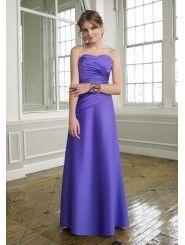 Satin A-Line Strapless Elegant Ruched Bodice Floor Length Bridesmaid Dress