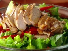 Asian Chicken Salad~~I like to stir fry the chicken, carrots, peppers & almonds with a little sesame oil.  Reminds me of a favorite salad from Red Robin.