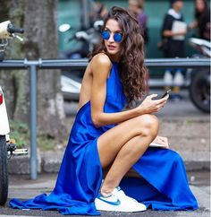 blue dress style fashion week street long hair stylish fashion nike shoes airmax