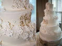 Gorgeous & Glamorous White Sugar Flower Wedding Cake Featuring Hand Piped Monogram In Magnificent Metallic Gold~