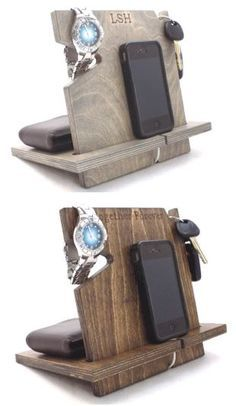 Looking for the perfect gift for him?  This wooden docking station can be personalized and is compatible with all cell phones (with or without cases).  Works great for iPads, tablets, and holding recipes in the kitchen too!  Shop now at http://palmettowoodshop.com
