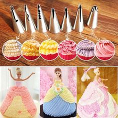 2.19AUD - 7X Russian Icing Piping Nozzle Pastry Cake Decor Tips Barbie Skirt Sugar Tools #ebay #Home & Garden Cake Decorating Piping, Creative Cake Decorating, Cake Decorating Tools, Cake Decorating Techniques, Cupcake Piping, Piping Icing, Icing Tips, Frosting Tips, Icing Nozzles
