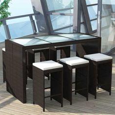 Fantastisch Poly Rattan Barset Bartisch + 6 Barhocker ! Sitzgruppe Gartengarnitur Garten  Garnitur Outdoor Lounge Möbel Gartengarnituren