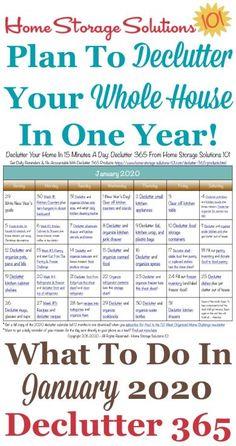 Januar 2020 Declutter 365 Kalender Kostenlos druckbar Januar 202 … - Home Storage Ideas