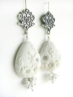 Ivory Bliss Wedding dangle polymer clay earrings by Your Baby Chic, via Flickr