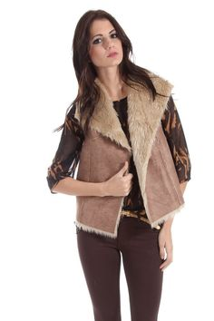 Potter's Pot Faux Leather and Fur Vest in Brown