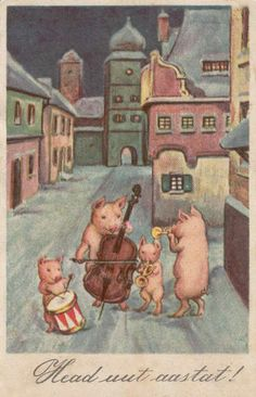 "Vintage Postcard ....""Happy New Year""postcard. Pigs were good luck."
