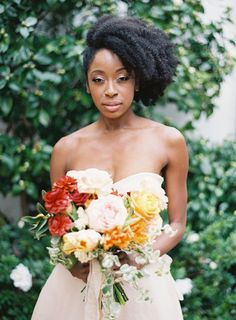 Follow us @SIGNATUREBRIDE on Twitter and on FACEBOOK @ SIGNATURE BRIDE MAGAZINE Natural Hair Wedding, Curly Wedding Hair, Bridal Hair, Wedding Updo, Wedding Bouquet, Wedding Hairstyles For Long Hair, Bride Hairstyles, Hairstyles 2016, Homecoming Hairstyles