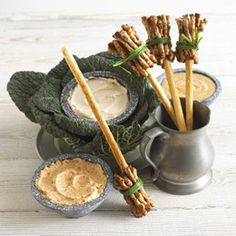 """Fairy """"Broomsticks"""". I may do a similar concept with bread sticks and dipping sauces instead."""