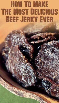 Make The Best Beef Jerky Ever - SHTFPreparedness - How To Make The Most Delicious Beef Jerky Ever – If SHTF, I won't be eating the expensive store - Beef Jerky Marinade, Smoked Beef Jerky, Beef Jerkey, Best Beef Jerky Recipe Dehydrator, Beef Jerky Seasoning, Smoked Jerky Recipe, Beef Jerky In Smoker, Traeger Jerky Recipe, Beef Snack Stick Recipe