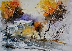 Landscape Painting - Watercolor 612071 by Pol Ledent