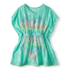 4d9fdb6fb788e Girls  Emoji Ruffled One-Piece Swimsuit and Kaftan Coverup