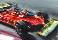 ... Ferrari 312 T4 F1 Car Monaco Montecarlo 1979 Art Print Poster