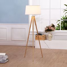 Brightech - Emma Tripod Floor Lamp - Classic Design for Contemporary or Traditional Living Rooms - Soft Ambient Lighting - White Shade - - Amazon.com
