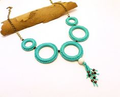 crochet circle necklace with fringe and wooden beads by spikycake