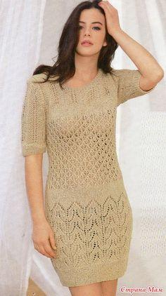 Ажурное платье спицами.