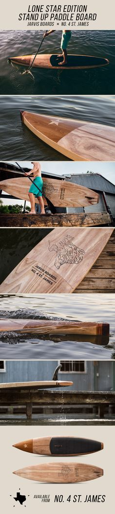 The Lone Star Edition Stand Up Paddle Board, an exclusive collaboration between handmade wooden board brand Jarvis Boards, and the premiere Texas lifestyle and products brand, No. 4 St. James.