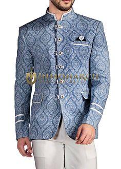 d392e6fbe0924 Mens Sky Blue 3 Pc Jodhpuri Suit Floral Print Floral Print Fabric