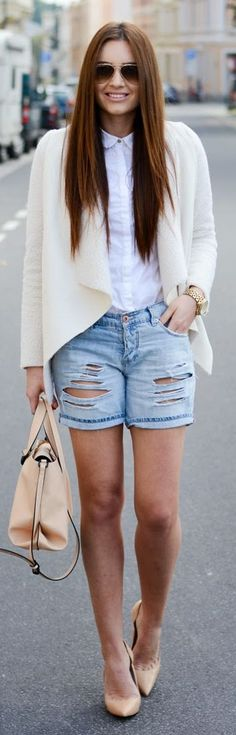 Blue Schredded Denim Boyfriend Shorts by Stylish !