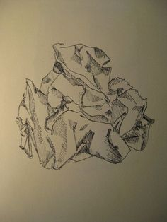crumpled paper line drawing