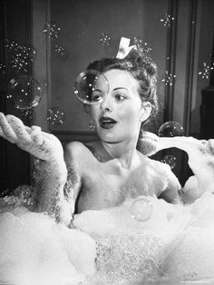 "Actress Jeanne Crain takes a bubble bath for her role in the film ""Margie"". Actress Jeanne Crain takes a bubble bath for her role in the film ""Margie"". Bubble Bath Photography, Boudoir Photography, Photography Ideas, Photography Accessories, White Photography, Photography Shop, Photography Hashtags, Photography Backgrounds, Photography Lighting"