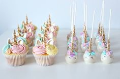 "205 Likes, 22 Comments - Sarah Iali (@just_add_sugar) on Instagram: ""Unicorns all standing in rows of cuteness! Unicorn inspired cupcakes and cake pops matching Amani's…"""