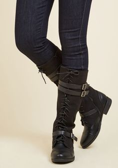 Band at Attention Boot in Black. Give one fabulous about-face in these solid black boots! #black #modcloth