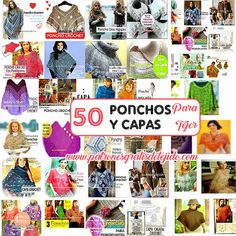 ponchos y capas para tejer con moldes y paso a paso Crochet Book Cover, Crochet Books, Crochet World, Knit Crochet, Knitted Shawls, Crochet Clothes, Crochet Projects, Knitting, Sewing