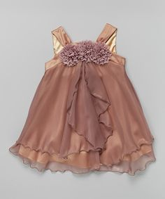 Look at this Kid's Dream Mauve Rosette Yoke Babydoll Dress - Toddler & Girls on #zulily today!
